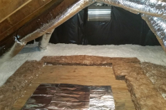 After-Attic-Photo-with-Radiant-barrier-and-blown-fiberglass-insualtion-scaled
