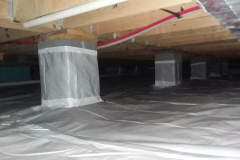 Wrapping-piers-for-crawlspace-encapsulation